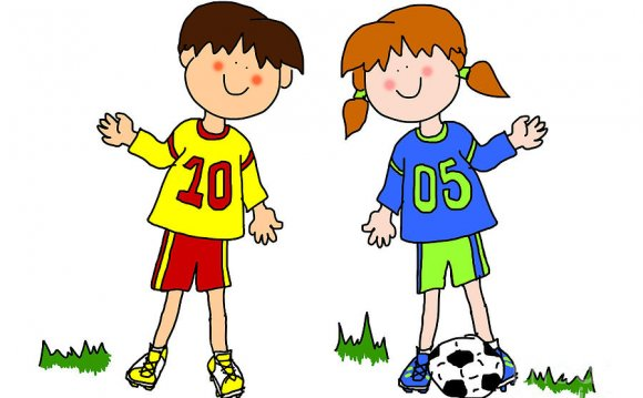 Boy And Girl Cartoon Soccer