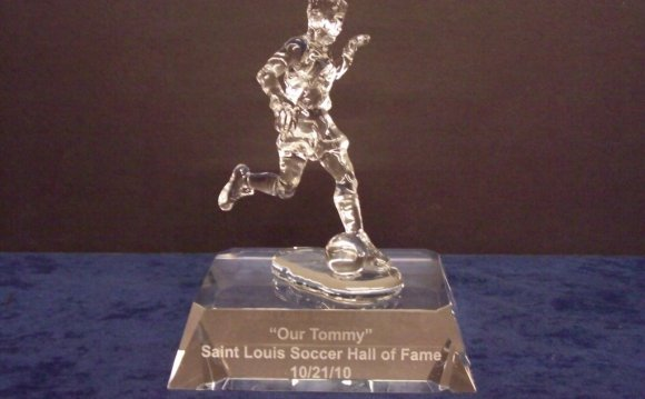A personalized crystal trophy