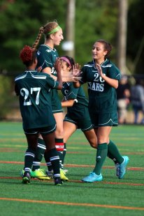 East Brunswick celebrates a goal against Bishop Ahr during a GMC Tournament semifinal Thursday at South Brunswick.