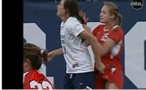 Girls Soccer player pulls hair