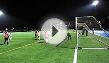 U13 girls soccer team demonstrates crossing drill